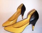 Yellow and Black Heels