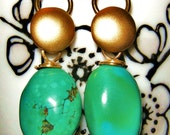 Turquoise and Gold Plated Earrings