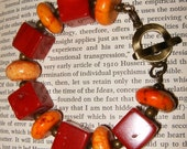 Red Coral and Orange Howlite Bracelet