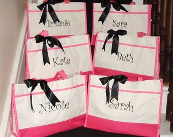 Personalized Bridesmaid Gift Tote Bags, Embroidered Tote, Monogrammed Tote, Bridal Party Gift, Set of 6