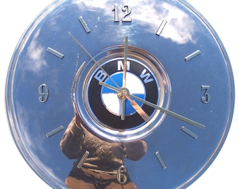 Hubcap Clock, BMW, 1980s with numbers (g050211 hub cap, recycled, ecofriendly)