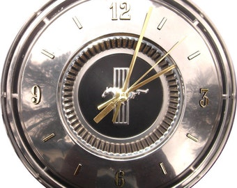 Ford Mustang Hubcap Clock with numbers (h  hub cap)  retro / vintage wall clock