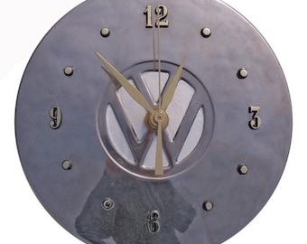 """VW Hubcap Clock, 1980s Volkswagen, 6"""" with numbering (Grade AA recycled clock)"""