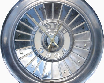 Ford Hubcap Clock, 1950s, Fairlane, Thunderbird, Custom, Ranchero, with dots for numbers (f recycled clock)