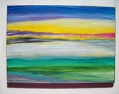 Original Handpainted Abstract Acrylic 5x7in Canvas Board  Beautiful Colors Signed HM