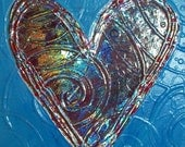 Amazing Heart OOAK Abstract Acrylic on 12x12in Canvas  Heavy Sculpted Heart Drenched in Rainbow foil