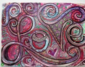 LoVe Original Handpainted Abstract Mixed Media on Watercolor Paper 9x12  Heather Montgomery Art