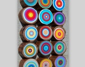 Tree Rings Set of 12 You choose the Color Palett  for your set  Beautiful Painted Trees  Eco Friendly