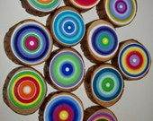 Tree Rings  Set of 9 Large  You choose the Colors Great Unique Gift for Nature and Art Lovers