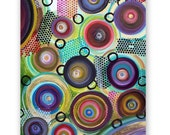 Original Textured Painting 36x24 Abstract Circles on stretched Canvas Beautiful Colors and Texture See Close Ups