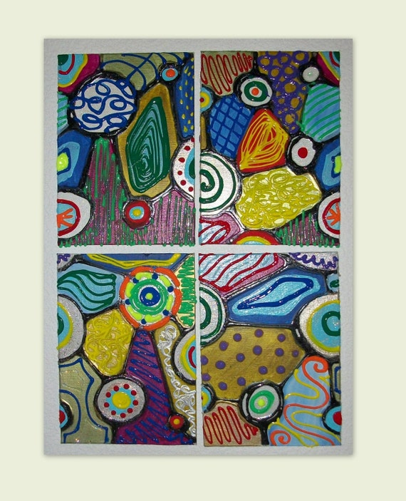 Original Handpainted Abstract Acrylic 4 Piece Set Each 5x7in Canvas Board  Beautiful Colors and Texture