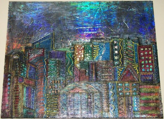 City at night Original Handpainted Abstract Acrylic on Big 24Lx30W Canvas Beautiful Colors and Texture and Foil