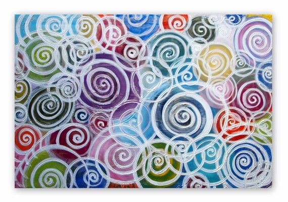 Swirls Abstract Acrylic Painting on BIG 36Lx24W  Canvas Beautiful Colors and Texture