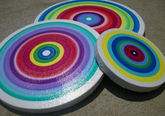 Canvas Circles 3 Beautiful Colorful Halos Acrylic on Cotton Stretched Canvas Circle Frames Ready to ship
