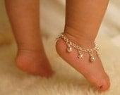 Sterling Silver Jingle Bells & Stars Anklet - Baby Anklet