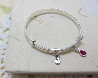 red strawberry bangle, initial, letter, birthstone bangle  (baby or toddler - choose your own letter)