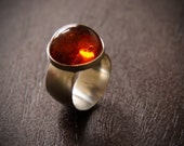 Cognac Burst ring - made to order - Baltic Amber and sterling silver ring in a comfortable modern setting