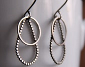 "Trendy sterling silver earrings handmade with two different edgy geometric shapes, light and comfortable - ""Drops and Circles Earrings"""