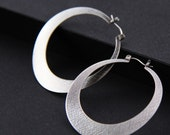 "Big silver hoop earrings, large statement jewelry in a comfortable unique design sure to get attention - ""Large Silver Lunar Hoops"""