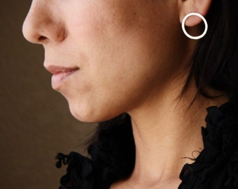 """Round silver post earrings of hammered texture perfect everyday go-to pair - """"Simple Classic Circle Earrings"""""""
