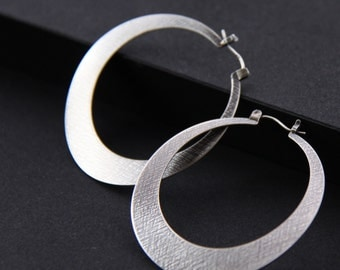 """Big silver hoop earrings, large statement jewelry in a comfortable unique design sure to get attention - """"Large Silver Lunar Hoops"""""""