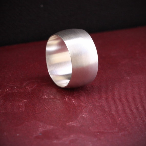 "Wide silver ring, modern, simple and trendy design handmade with a low dome band in your size - ""Silence Ring"""