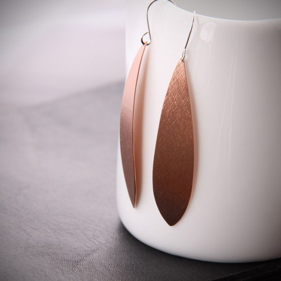 "Long copper earrings in a slender eye-catching and modern design hanging from silver earwires - ""What Sarah Said Earrings in Copper"""