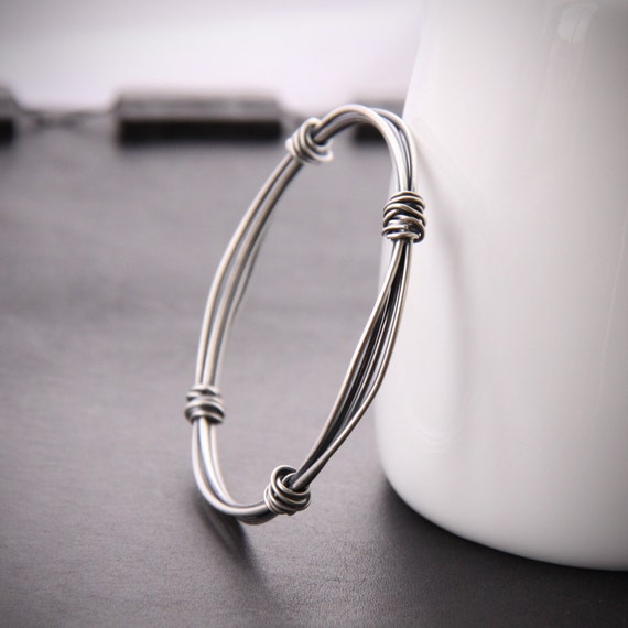 "Modern silver bangle with a sleek and edgy charcoal finish handcrafted with different gauges of sterling wire - ""Bundle Hoop Bracelet"""