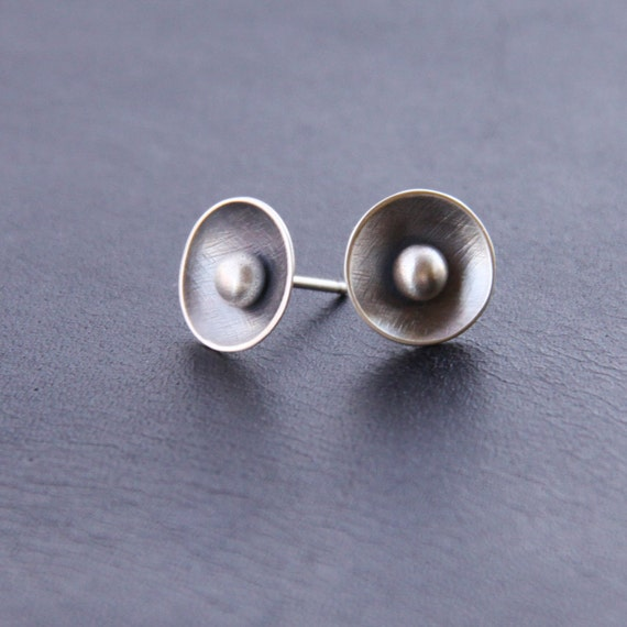 """Edgy sterling silver studs handmade with patterned and domed silver discs and balls of melted silver - """"Stellar Studs"""""""