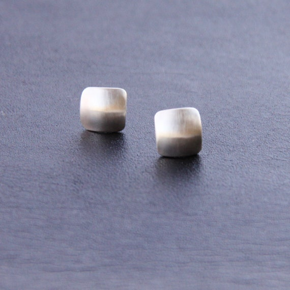 """Tiny silver earrings with a modern square shape domed for a more contemporary appearance - """"Petite Squares Earrings"""""""