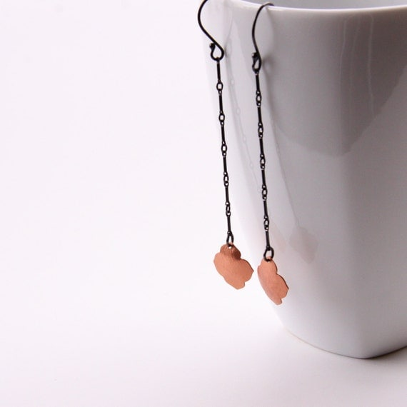 """Long and sleek dangle earrings, oxidized silver paired with vibrant copper in an effortlessly stylish design - """"Copper Sahara Earrings"""""""