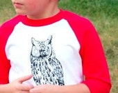 Clearance Sale Child Shirt Steam Punk Owl red and white and black kid boy baseball jersey retro tshirt S M L
