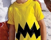 Cartoon Charlie Yellow Black Zig Zag kids boy girl peanuts 6m 12m 18m 2T 3T 4T 5/6 7 toddler retro costume vintage brown T-Shirt Teeshirt