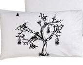 One (1) Birds of Freedom Tree Bird Cage Oak Tree bedding NEW pillowcase pillow cover case Standard size black white birdcage bedroom decor