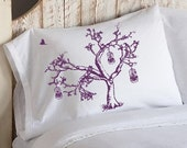 Two (2) Birds of Freedom Tree Bird Cage Violet Purple Oak Tree bedding NEW white pillowcase pillow cover case