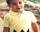 9-12 month Deluxe Charlie Zig Zag POLO button shirt kids show child boy yellow peanuts retro classic tv comic