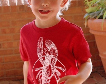 Size Small Child White Lobster Red Nautical kid child toddler boy girl t shirt beach tee shirt