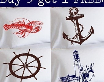 Buy 3 Get 1 Free White Nautical Pillowcases