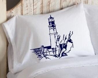 Navy Blue Nautical Lighthouse light house bedroom decor pillowcase pillow cover case