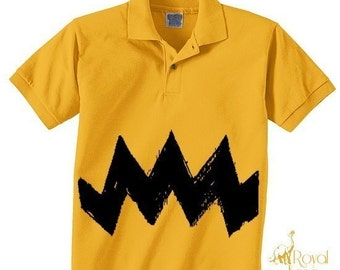 New Item Size 3T  Retro Charlie Yellow Zig Zag kids boys girls peanuts FUNNY brown gift Polo T-Shirt Teeshirt
