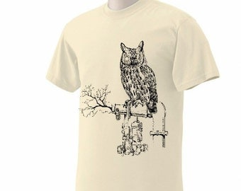 Sale - Size Large - Owl with gear eyes Steam Punk Mens Natural short sleeve tshirt