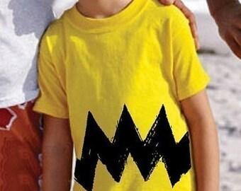 Cartoon Charlie Yellow Black Zig Zag boy girl childrens peanuts 6m 12m 18m 2T 3T 4T 5/6 FUNNY toddler costume classic cartoon brown T-Shirt