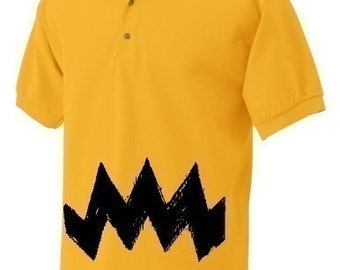 XXL Retro Charlie Yellow Zig Zag stripes Mens peanuts brown Adult Polo 2XL XXL Tee Shirt T-Shirt