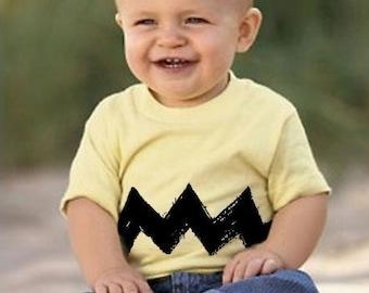 3-6 Month Cartoon Charlie Yellow Black Zig Zag kids boys girls childrens peanuts infant FUNNY comics brown gift Tee Shirt T-Shirt