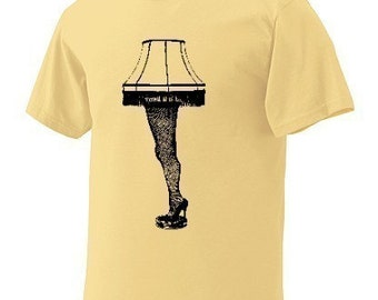 Sale - XL - Leg Lamp T-Shirt Yellow Black Mens Man Short Sleeve a FUNNY story christmas light cult classic Shirt high heel stockings movie