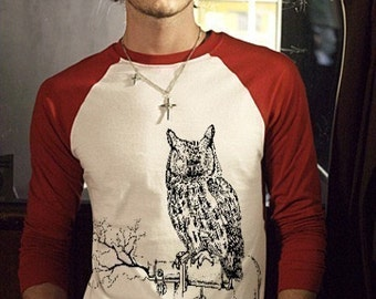 Large Mens STEAM PUNK Owl TeeShirt raglan jersey gear machine T-Shirt Men Man Ringer Tee original funny