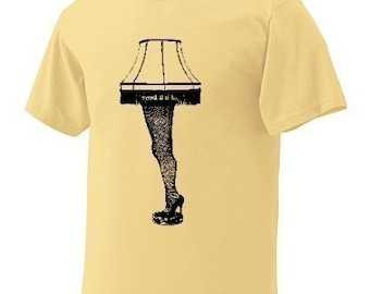 Sale Medium Leg Lamp T-Shirt Yellow Black Mens Man Short Sleeve a FUNNY story christmas light cult classic Shirt movie