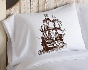 Two (2) Brown Nautical Tall Clipper Ship Crew Boat pillowcases Pillow case ocean sea decor deco beach guest house room master bedroom