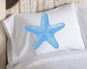 SALE 50 percent off Two (2) Nautical Light Blue Starfish Star Fish Pillowcases White Pillow cover