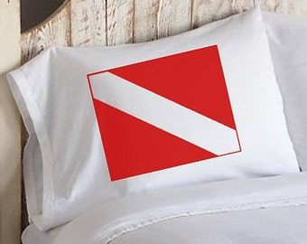 One (1) Red Diver Flag Pillowcase nautical decor home east west coast beach house ocean bedroom cabin lake pillow case covers UNIQUE